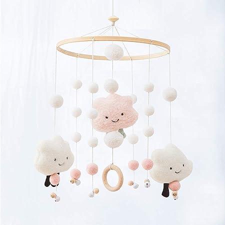 let's make ベビー モービル ベッドメリー かわいい フェルト雲 ふわふわ メリー 木製 鈴付き 初めてのおもちゃ 赤ちゃん ベビー 出産祝い プレゼント
