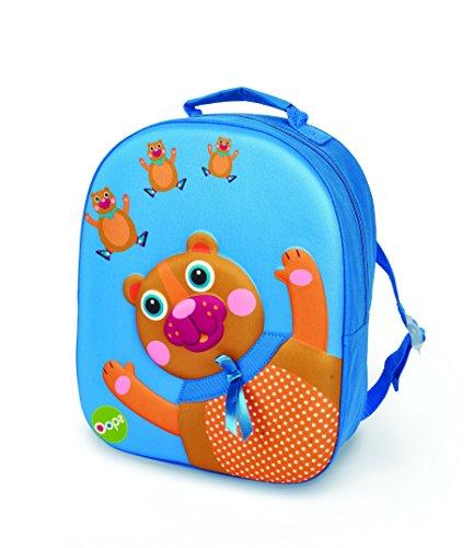 Bunter 3D Kinderrucksack von Oops SA mit Bären Motiv, Kinderrucksack ab 18 Monate, (Rucksack für Jungen und Mädchen, bietet viel Stauraum, verstellbarer Tragegurt, Maße: 11x31x24,5cm), Mehrfarbig