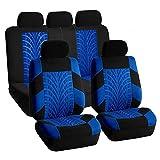 Tuankayuk 9pcs Ensemble de Housses Siège Auto Universel Protection de Siège Couverture de Siège de Voiture Accessoires Tuning Interieur Bleu