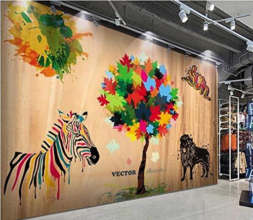 Muurschildering muurschildering Hout Graan Achtergrond Zebra Kleine Boom Leeuw Koffie Poster Café Dessert Shop ijs Shop Pizza Shop Bakkerij Restaurant Foto Behang 400cmx280cm(157.4x110.2inch)