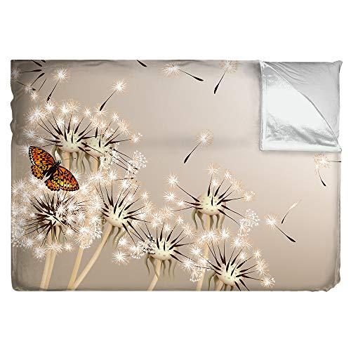 Kuscheldecke Motiv Pusteblumen mit Schmetterling | 3 Größen | Tagesdecke Premium superweich | Fotodruck, Größe: B 200 x H 140 cm