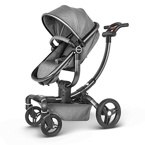 Besrey Baby Travel System, Infant Pram Folding Convertible Pushchair (Classic Gray)