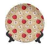 Plato decorativo de cerámica de 20 cm, rebanadas frescas con telón de fondo de semillas para...