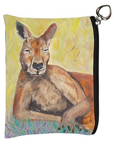 Kangaroo Change Purse, Vegan Coin Purse - Animals - From My Original Paintings - Support Wildlife Conservation, Read How (Kangaroo - Portrait of Charlie)