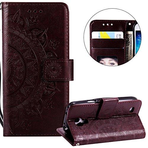 Surakey Compatible avec Coque Samsung Galaxy S4 Mini Housse en Cuir PU Leather Etui Portefeuille à Rabat Mandala Fleur Motif Clapet Support Fermeture Flip Wallet Case pour Galaxy S4 Mini,Fleur Marron