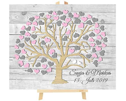 Livingstyle & Wanddesign | Personalisiertes Hochzeitsgästebuch | Leinwand in 3D-Optik mit Herzbaum | Runde Baumkrone mit rustikalem Hintergrund | 40x50cm | Rosa & Grau | 60...