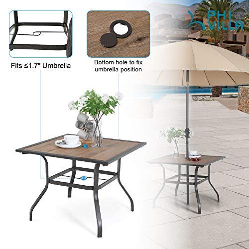 "PHI VILLA Patio Dinning Table 37"" x 37"" Outdoor Umbrella Bistro Set Garden Furniture Table, 1.7"" Umbrella Hole, Steel Frame"