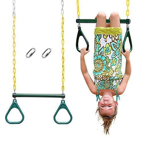 MZH QRYY Trapeze Swing Bar with Rings 29' Heavy Duty Chain Swing Set Accesorios para niños Zona de Juegos Equipo de Columpio para el hogar Gimnasio para niños Anillos de Fitness