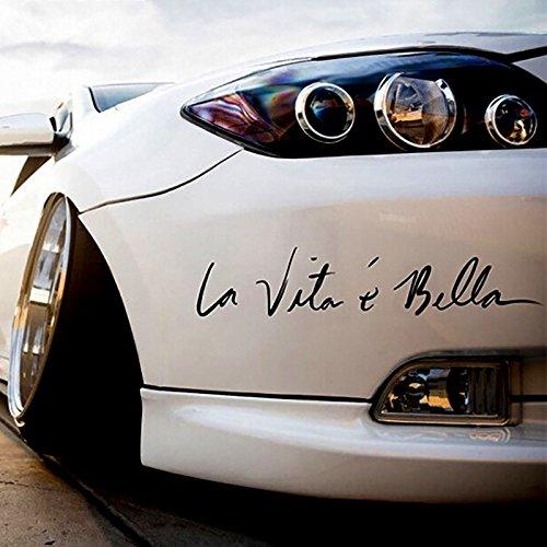 """Auto Styling Aufkleber \""""La Vita E BELLA\"""" Auto Aufkleber Vinyl Aufkleber Dekoration Film Aufkleber DIY Auto Tuning Teile (Schawrz)"""