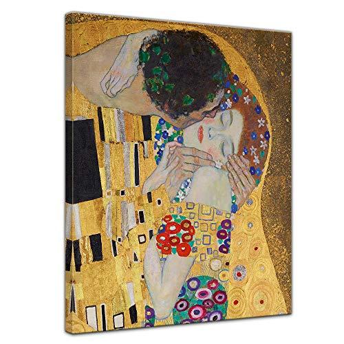 Bilderdepot24 Bild auf Leinwand Alte Meister | Gustav Klimt - Der Kuss (Detail) | in 50x70 cm als Wandbild |Wand-deko Dekoration Wohnung modern Bilder | 180206