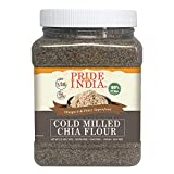 El orgullo de la India Raw Negro Chia Seed Meal harinas fría Milled- Omega-3 y Fibra súper, 2 libras (32 oz) de harina cruda harina de Jar-chia semilla fría Negra- molienda - Omega-3 y fibra súper