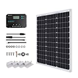 Renogy Kit Panel Solar Monocristalino 50W 12V con Regulador de Carga PWM 10A 12/24V para Caravanas, Barcos, Cabanas