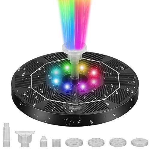 GIMOCOOL - Fuente solar 4 en 1 sensible a la luz, bomba flotante de agua de colores 6 V/3 W, bomba de fuente de jardín de círculo de protección inteligente con interruptor magnético