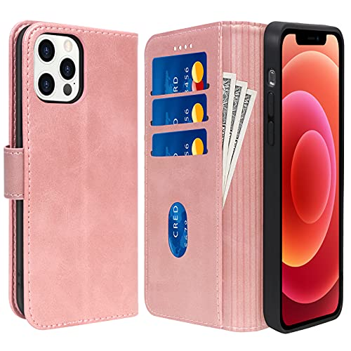 """Skycase Compatible for iPhone 12 Case/Compatible for iPhone 12 Pro Case 5G,Handmade Flip Folio Wallet Case with Card Slots and for iPhone 12/12 Pro 6.1"""" 2020,Rose Gold"""