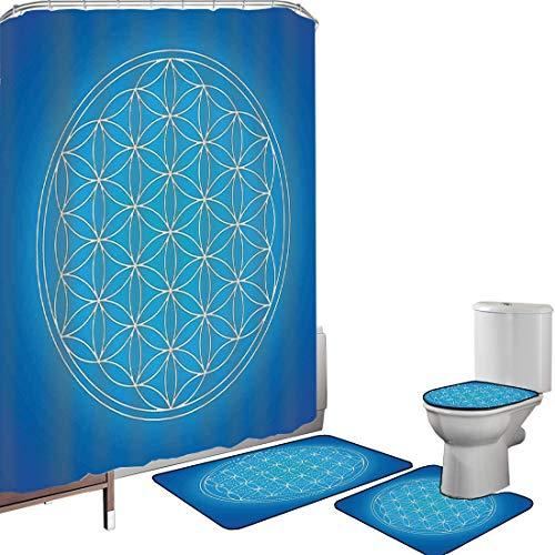 Set di tende per doccia Accessori il bagno tappeti Decor geometria sacra Tappetino da bagno con tappetino per WC Motivo a griglia del fiore della vita composto da tipi di cerchi sovrapposti a tema,blu