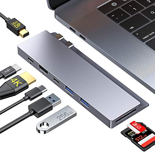 USB C Hub,GIKERSY 8-in-1 USB C Docking Station with Mini DP,4K HDMI,USB-C 100W PD,USB-C Data Port,2 USB 3.0 Ports,UHS-II SD 4.0/MicroSD Card Reader,Compatible with MacBook Pro 2019/2018-2016