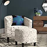 BELLEZE Modern Accent Club Chair with Ottoman Stylish Round Arms Curved Back Deep Barrel Design & Soft Cushion Linen Fabric Upholstery in Print Script - Lydia (White French Pattern)