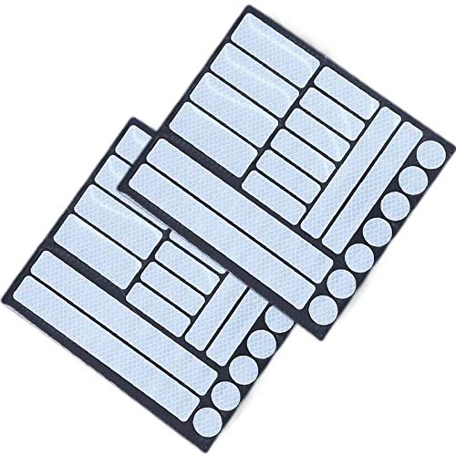 longyisound Pegatinas Reflectantes, 42 Piezas de Reflectores Adhesivos Reflector Stickers, Visibilidad de Noche para Cascos, Bicicletas, Moto, Coche, Plata