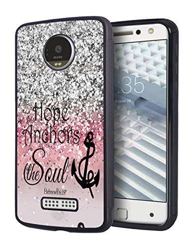 Moto Z Force Droid Case,Pink Glitter Bible Verse Hebrews 6:19 Hope We Have as an Anchor of The Soul Slim Anti-Scratch Rubber Protective Cover for Motorola Moto Z Force/Moto Z Force Droid