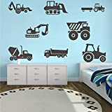 8 Transports Kids Wall Stickers Decals Excavator Bulldozer Mixer Truck Construction Truck Tractor Peel and Stick Removable for Nursery Bedroom Living Room Art murals Decorations JWH130 (Black)