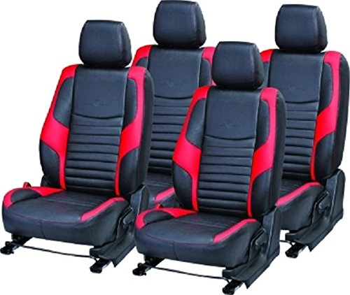 Khushal Chevrolet Beat Car Seat Covers   Leatherite car seat Covers for Chevrolet Beat (Red/Black) Top Model LT Back seat 60/40