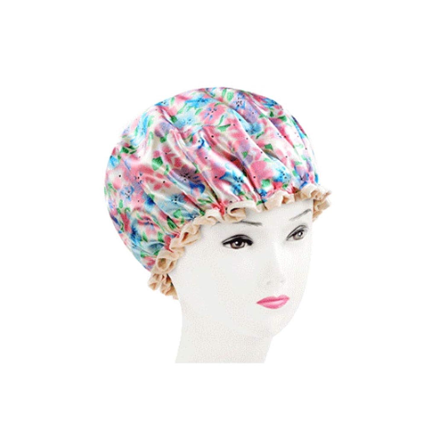 入学する十年政治シャワーキャップ、レディースシャワーキャップレディース用のすべての髪の長さと太さのデラックスシャワーキャップ - 防水とカビ防止、再利用可能なシャワーキャップ。 (Color : Pink)
