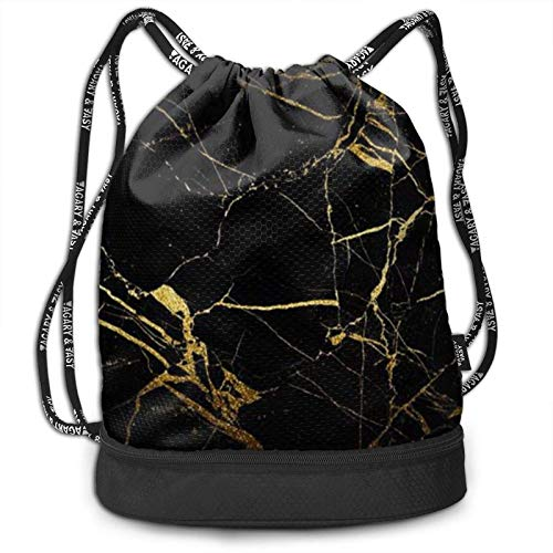 XCNGG Drawstring Backpack,Gold Black Wallpaper Print Sport Travel Gym Bundle Backpack Bag