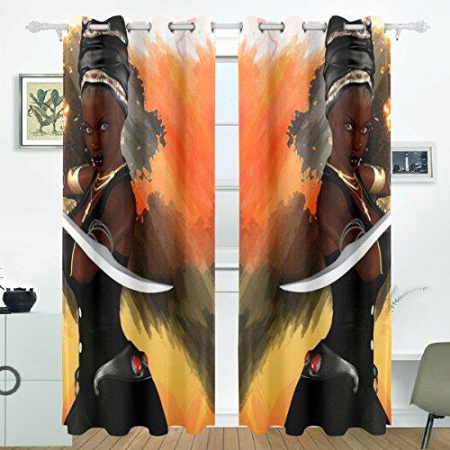 JSTEL afrikanischen Frauen Vorhänge Panels Verdunklung Blackout Tülle Raumteiler für Terrasse Fenster Glas-Schiebetür Tür 139,7x 213,4cm, Set von 2