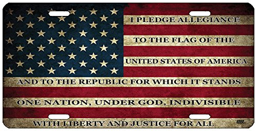 Rogue River Tactical USA Flag License Plate Novelty Auto Car Tag Vanity Gift American Patriotic Pledge of Allegiance
