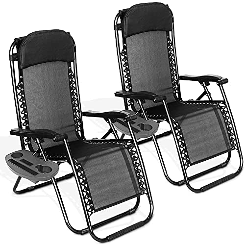 XKESBS Juego de 2 sillones para Exteriores Zero Gravity Tumbona Plegable Silla Textilene Tumbona de jardín reclinable con Bandeja Lateral Mesa Negro