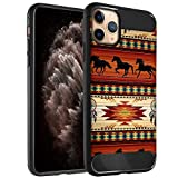 CasesOnDeck Case Compatible with [Apple iPhone 11 Pro/iPhone XI Pro (5.8')] Tribal Floral Matte TPU Flexible Carbon Fiber Textured (Western Horse Tribal)