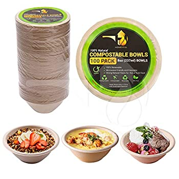Disposable Paper Bowls - 100pack 8oz Compostable Paper Bowls- For Condiments Ice Cream Chili Dessert and Chip Dips- Made of Natural Sugarcane Bagasse- Eco-friendly Biodegradable and Microwave-Safe