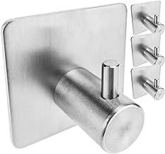 PrimeMatik - Paslanmaz çelik duvar portmanto. 1 kancalı 4'lü paket elbise askısı ve havlu askısı