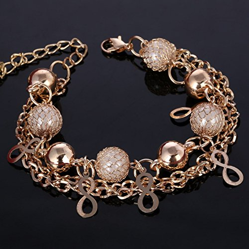 PPuujia Pulsera de perlas de simulación personalizada de señora con colgante de metal largo para mujer, regalo de joyería de oro (color metal: SL548)
