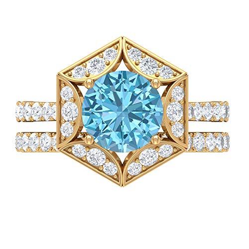 Solitär Sechseck Ring Gold Brautring Set 3,01 ct Edelsteine D-VSSI Moissanit 8,50 mm Aquamarin Kissenschliff Ring Art Deco Verlobungsring, 14K Gelbes Gold, Size:EU 61