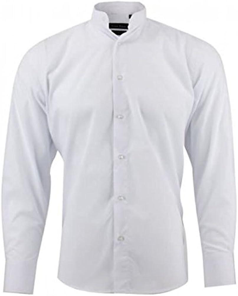 Camisa Cuello Mao – para hombre – blanco blanco M ...