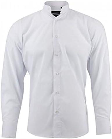 Camisa Cuello Mao – para hombre – blanco blanco M: Amazon.es ...