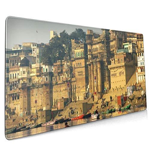 Rubberen voet Mousepad Kust Boten Huizen India Steden 15.7x35.4 Inch