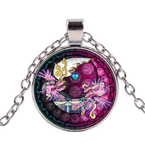 Collar de cadena larga con texto 'My Little Ponies', diseño de caballo de arco iris, para niñas