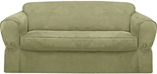 MAYTEX Piped Suede 2-Piece Loveseat Furniture Cover/Slipcover, Sage