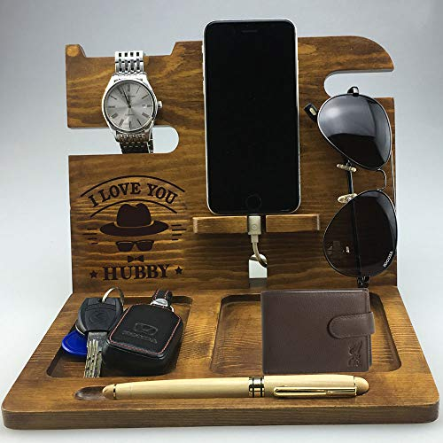 Husband Gifts from Wife   Christmas   Wood Docking Station   Hubby   for Men   Phone Holder