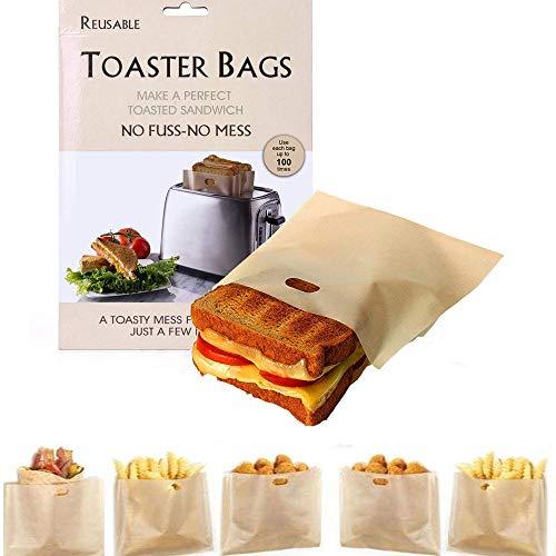 Sacchetti per Tostapane, 10 pezzi Sacchetto per Toast, Sacchetti per Tostapane Riutilizzabili Antiaderenti, Borsa per Microonde Antiaderente,Calore Facile da Pulire, Adatto per Pane, Snack, Frutta
