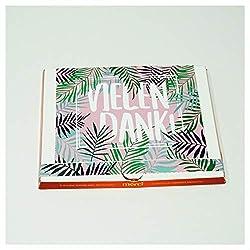 42thinx Individuelle Geschenkidee - Aufkleber-Set Zum Personalisieren Einer Merci Schokolade Schachtel - Selbst Gemacht Kommt Von Herzen - Design Palmen
