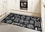 Teppich Modern Flachgewebe Gel Läufer Küchenteppich Küchenläufer Schwarz Weiss mit Schriftzug Coffee Größe 67x180 cm