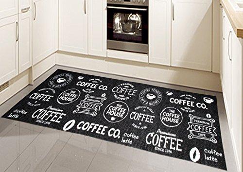 Teppich Modern Flachgewebe Gel Läufer Küchenteppich Küchenläufer Schwarz Weiss mit Schriftzug Coffee Größe 80 x 250 cm