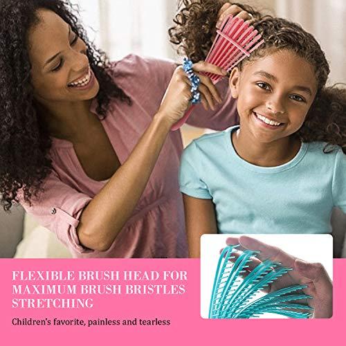 Detangling Brush, ez Detangler Brush for Natural Black Hair, 2 Pcs Detangling Comb for Thick Curly Kinky/Coily, Wet/Dry 3/4 abcd African American Hair for Women Kids Men (Pink & Blue)