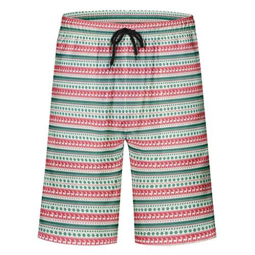 Caixiabeauty – Bañador para hombre, para tiempo libre, verano, vacaciones, Hawaii, secado rápido, con cordón elástico, bolsillos sin slip interior blanco L