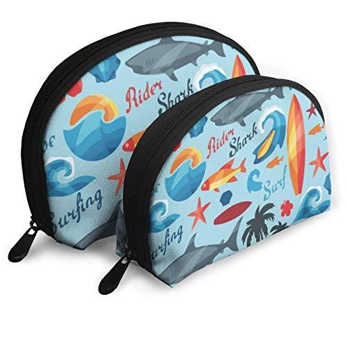 Grappige haai strand surfen schelpdieren cosmetische tas shell vorm draagbare opslag zakken luxe toilettas
