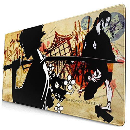 Samurai Champloo Japanese Anime Style Large Gaming Mouse Pad Desk Mat Long Non-Slip Rubber Stitched Edges Mice Pads 15.8x29.5 in