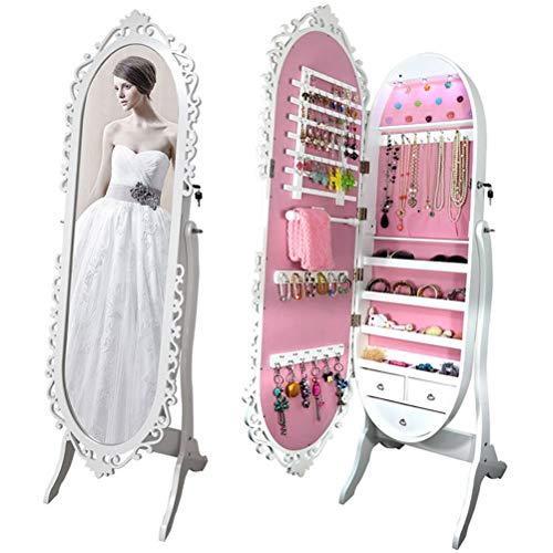 LHY SAVE Gabinete Espejo de Joyería de Pie Espejo Joyero Armario con Cerradura Y Luces LED Armario para Joyas con 3 Cajones,Blanco,46 * 46 * 164cm,Rosado